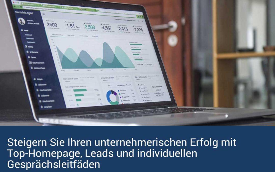 Steigern Sie Ihren unternehmerischen Erfolg mit Top-Homepage, Leads und individuellen Gesprächsleitfäden